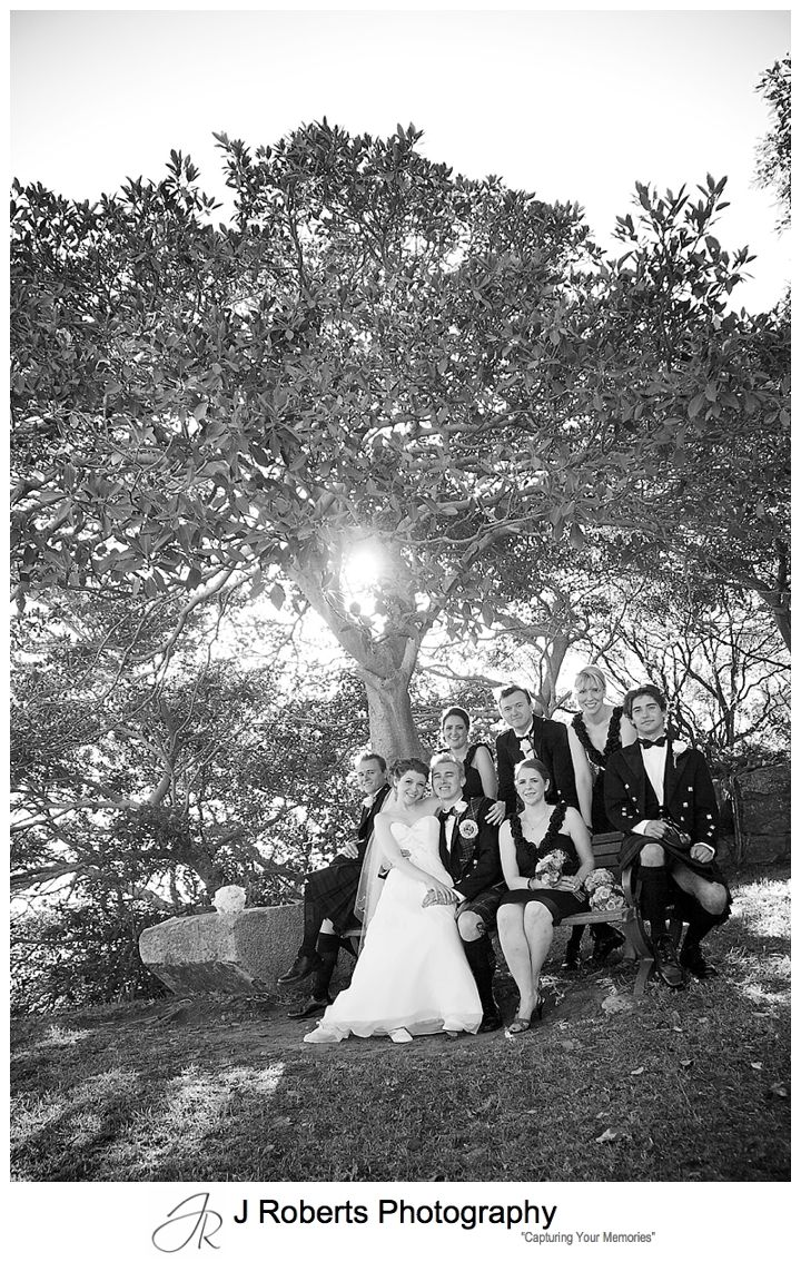 B&W portrait of bridal party - sydney wedding photographer