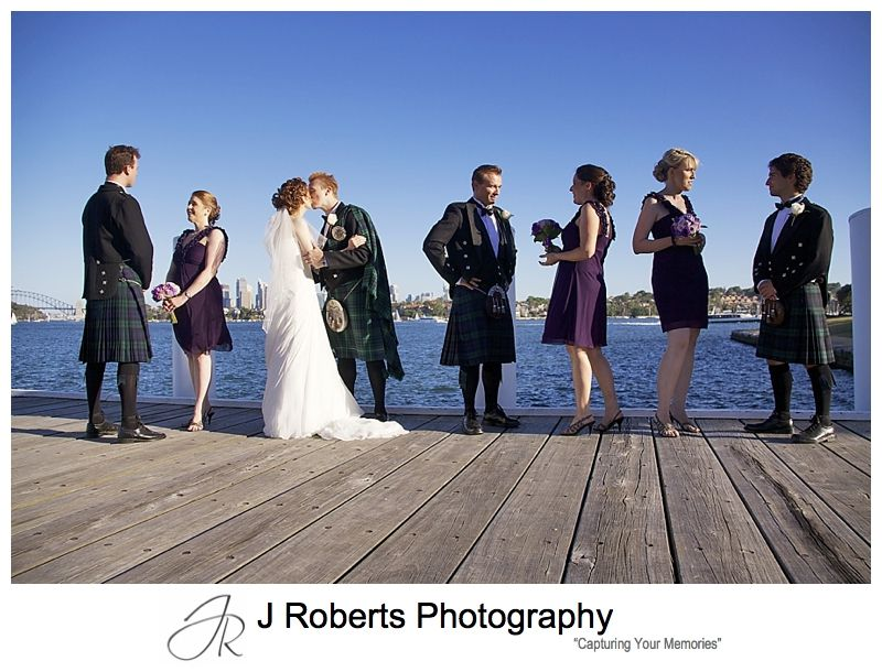 Bridal party on the pier at Woolwich near Deckhouse - Sydney wedding photographer