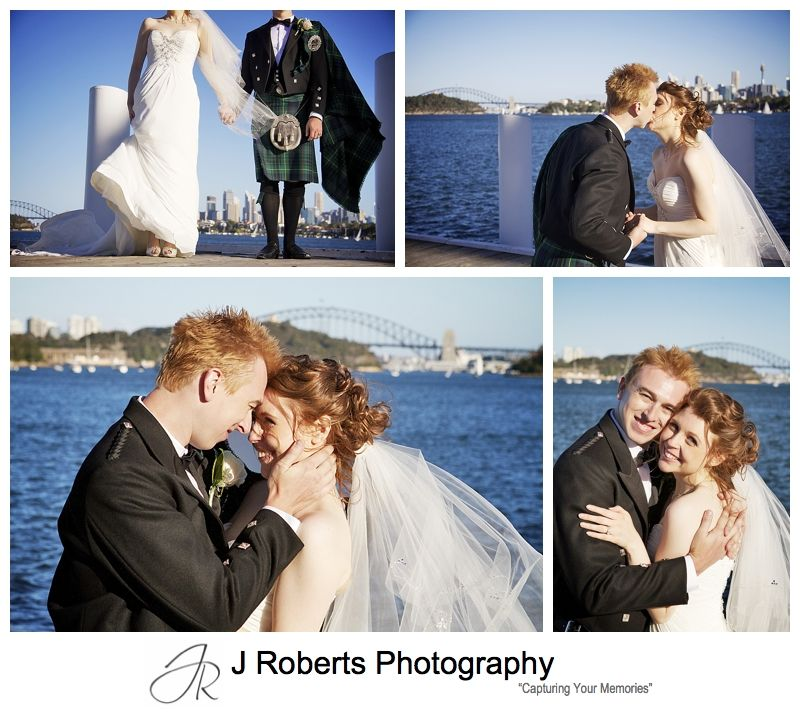 Bride and groom with sydney harbour in the background at woolwich - Sydney wedding photographer
