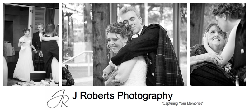 B&W photos of bride and groom at wedding reception at the deckhouse woolwich - Sydney wedding photographer