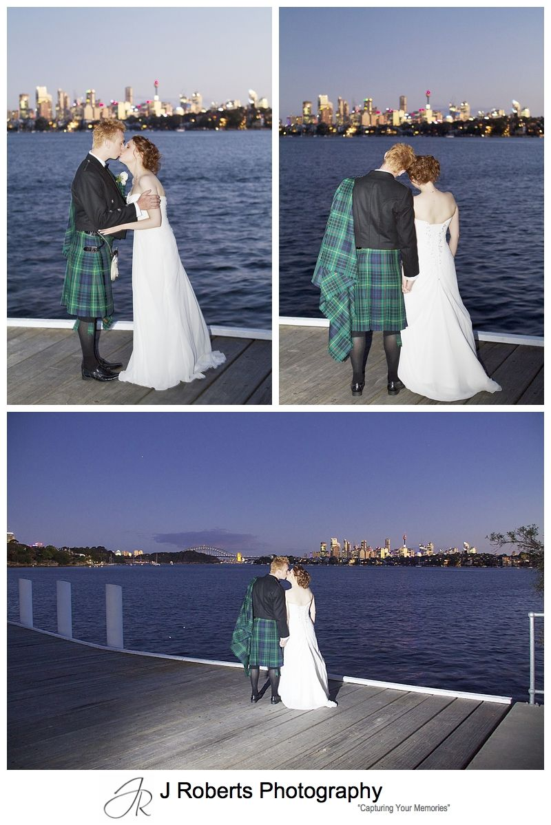 Sunset photographs of bridal couple on the pier at woolwich - Sydney wedding photographer