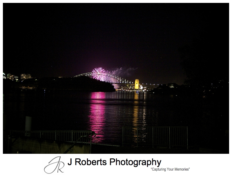 Fireworks over the harbour bride from woolwich - Sydney wedding photographer