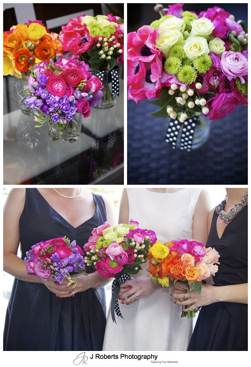 Beautiful bright colourful flower bouquets - sydney wedding photography