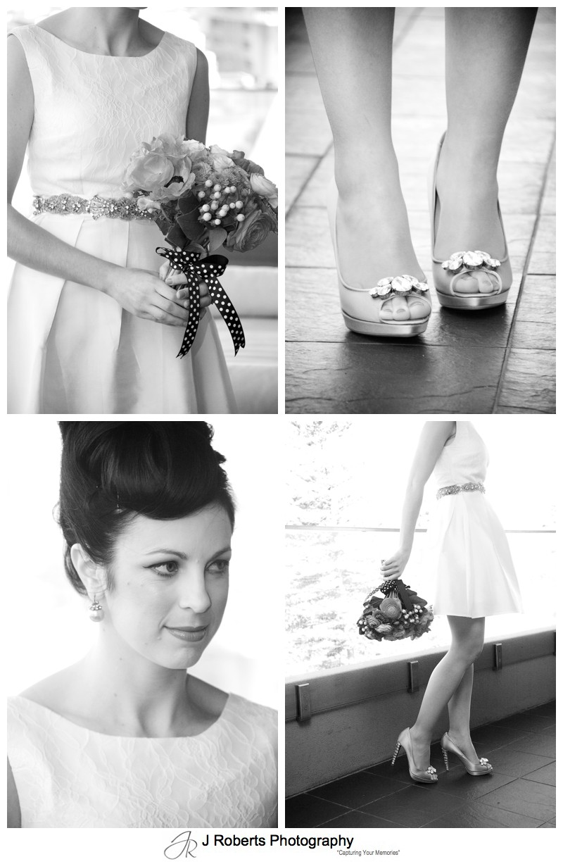 B&W details of a 1950 style bride - sydney wedding photography