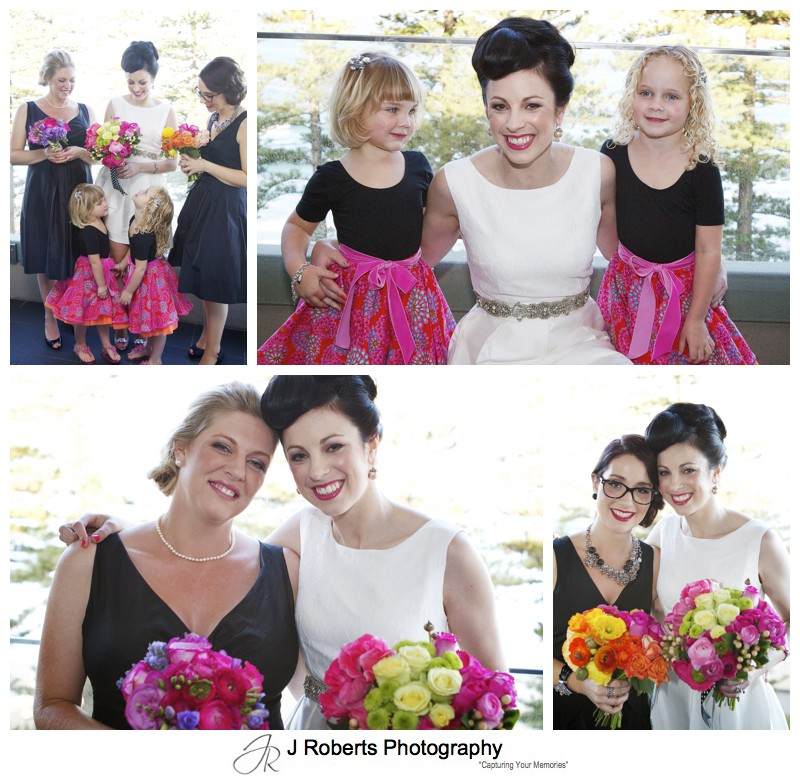 Bride with her bridesmaid and flower girls in black, orange and hot pink - sydney wedding photography