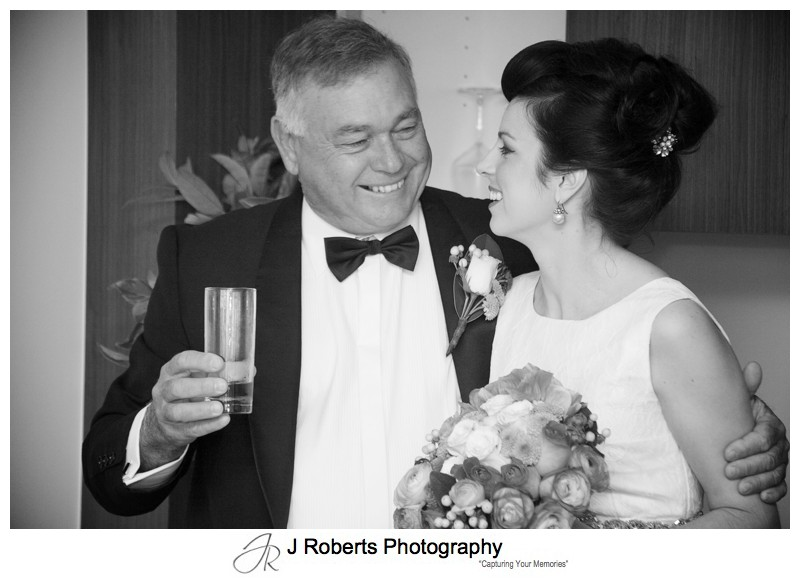 Bride with her father pre wedding - sydney wedding photography