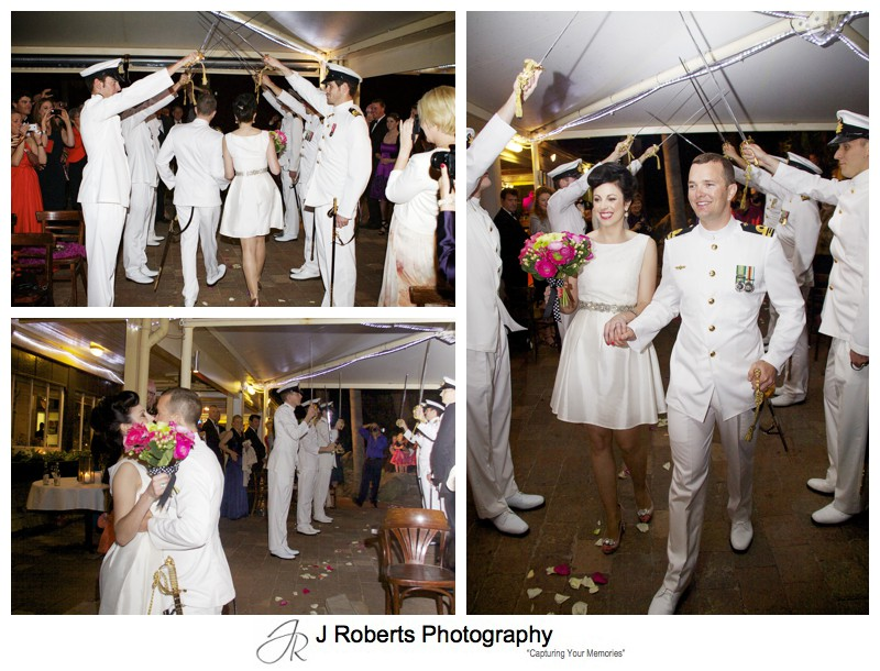 Naval Lieutenant walks down the aisle with honour guard - sydney wedding photography