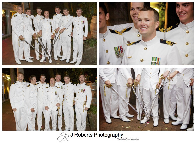 Naval Lieutenants Wedding with naval swords - sydney wedding photography