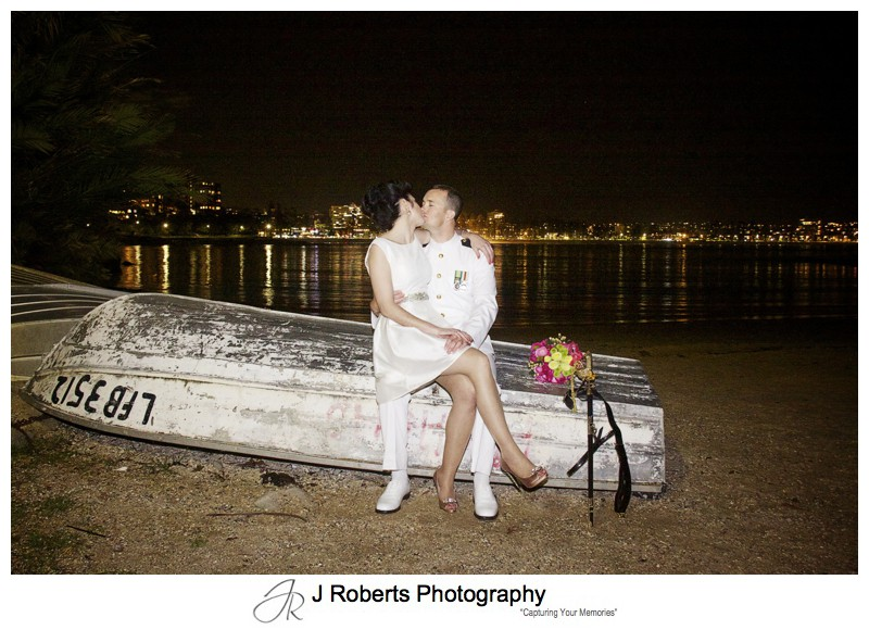 Night wedding portraits at shelly beach manly - sydney wedding photography