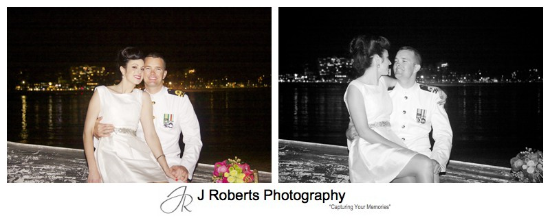 Wedding portraits on a boat at night - sydney wedding photography