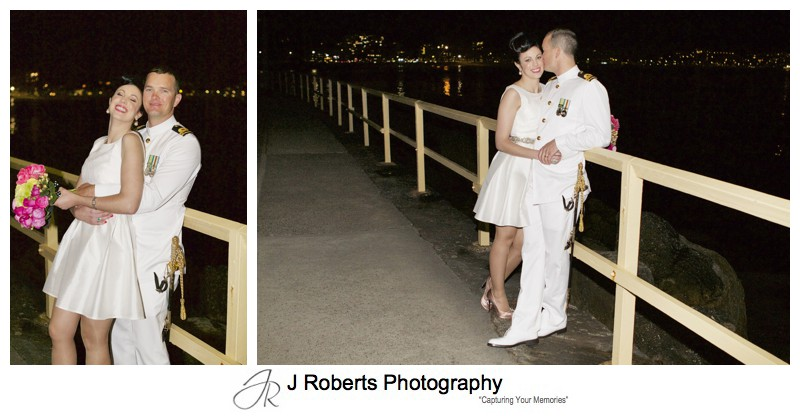 Bridal couple portraits along coastal walk near Shelly Beach Manly at night - sydney wedding photography