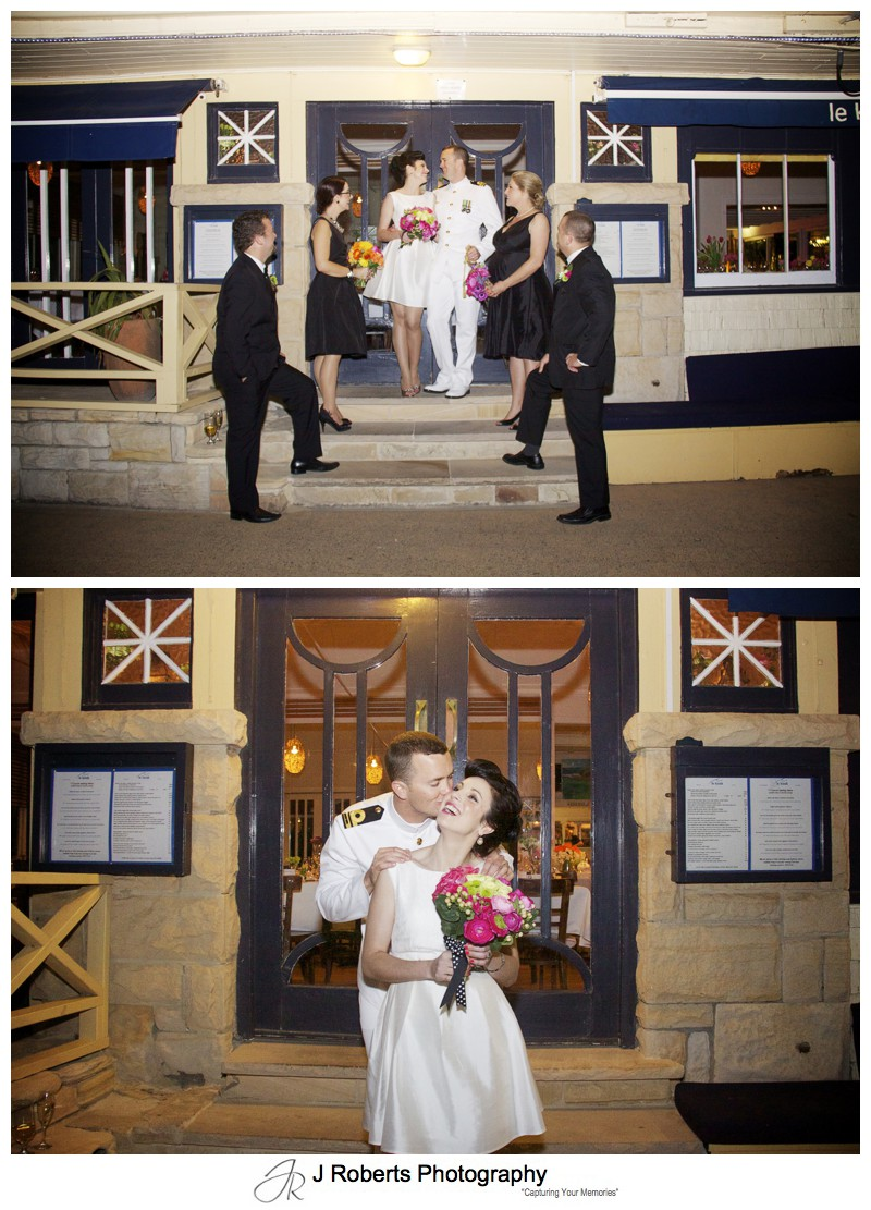 Bridal party on the steps of Le Kiosk Manly - sydney wedding photographer