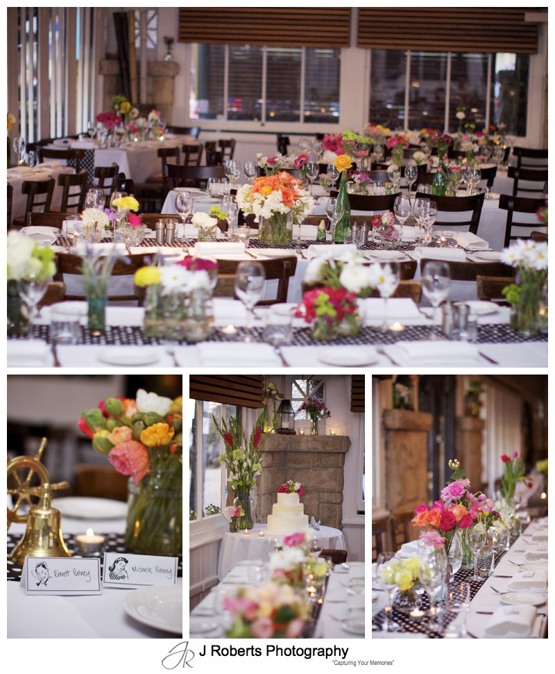Le Kiosk Manly set for a wedding reception with lots of bright colourful flowers - sydney wedding photography