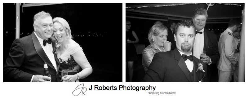 B&W guests portraits at wedding reception - sydney wedding photography