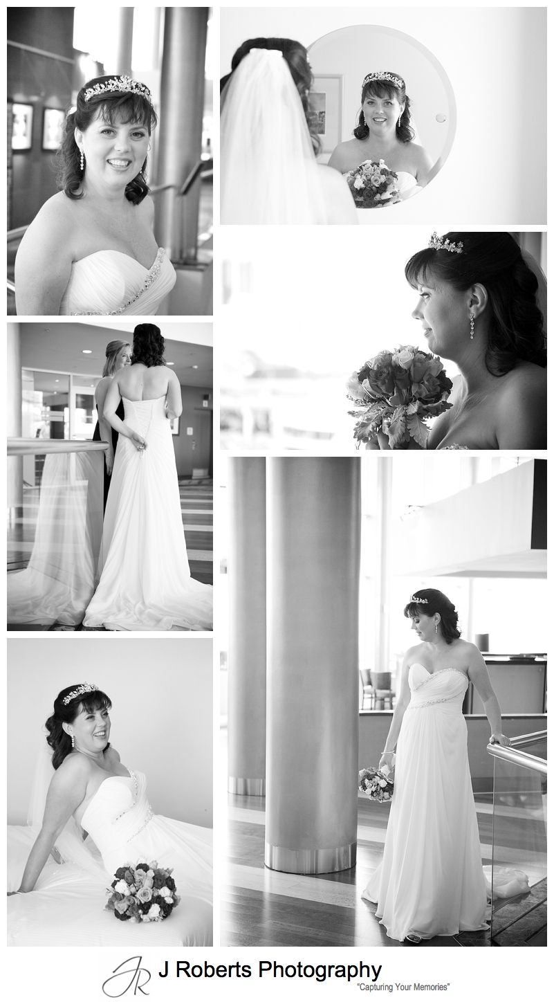 B&W portraits of a bride at Novotel Darling Harbour Sydney - Sydney wedding photography