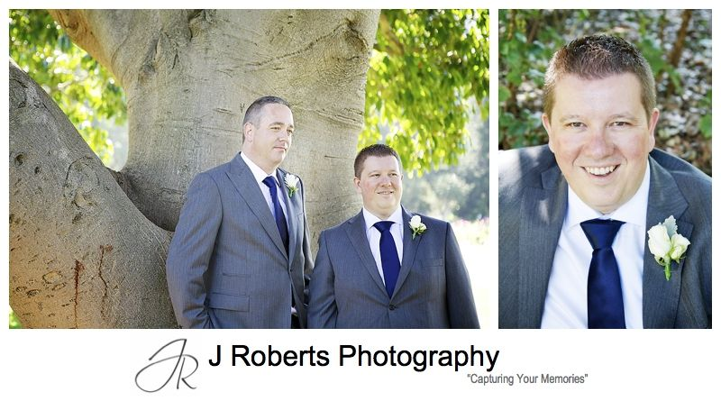 Groom and best man at the Royal Botanic Gardens Sydney - sydney wedding photography