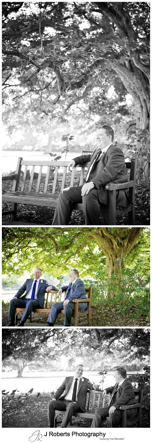 Groom and best man on a seat under the trees at royal botanic gardens sydney - sydney wedding photography