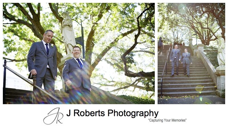 Groom and best man walking through the Royal Botanic Gardens Sydney - sydney wedding photography