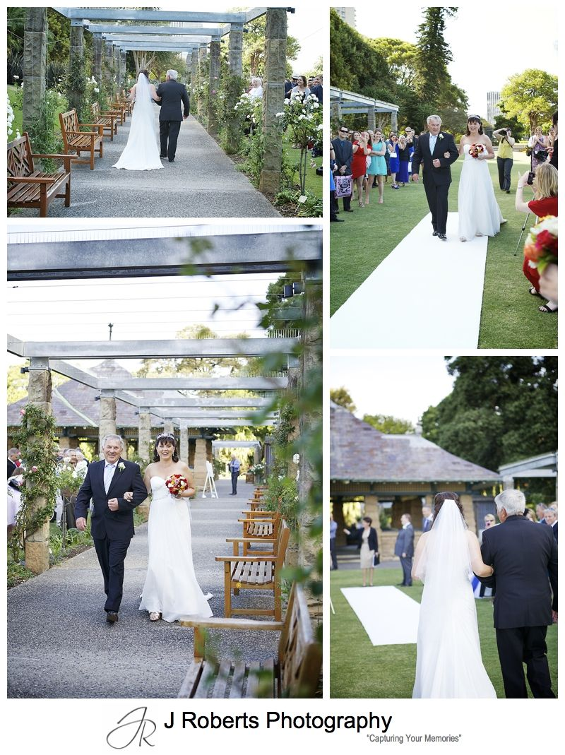Brides arrival for ceremony in the rose gardens at the royal botanic gardens sydney - sydney wedding photography