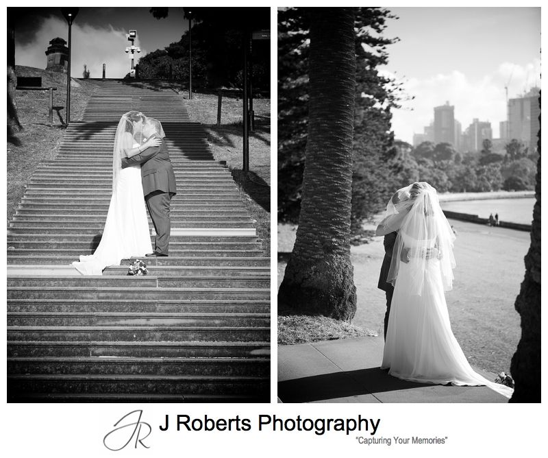 Mrs Macquaries Chair steps with bridal couple sydney - sydney wedding photography