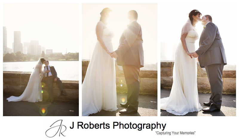 Bridal portraits in the setting sun Royal Botanic Gardens Sydney - sydney wedding photography