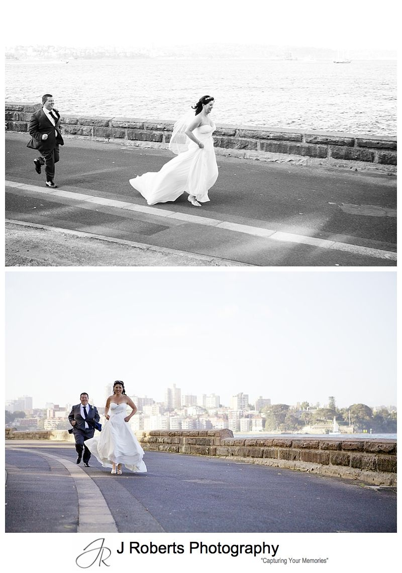 Groom chasing runaway bride - sydney wedding photography