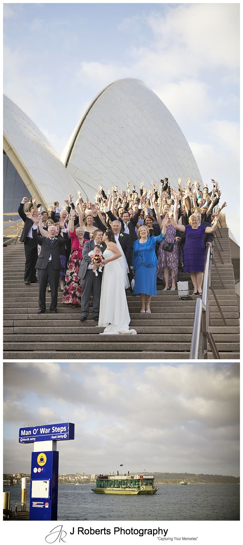Whole wedding party on the steps of the sydney opera house - sydney wedding photography