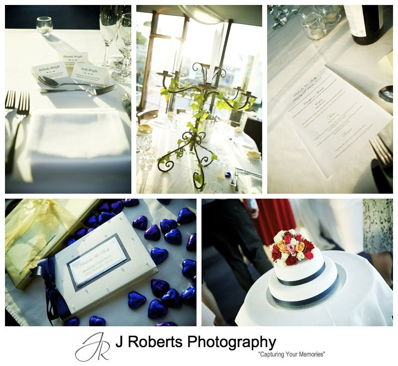 wedding reception details on the sydney glass island - sydney wedding photography