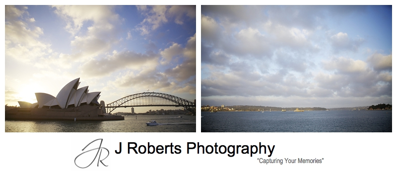 Sunset views from the Sydney Glass Island - sydney wedding photography