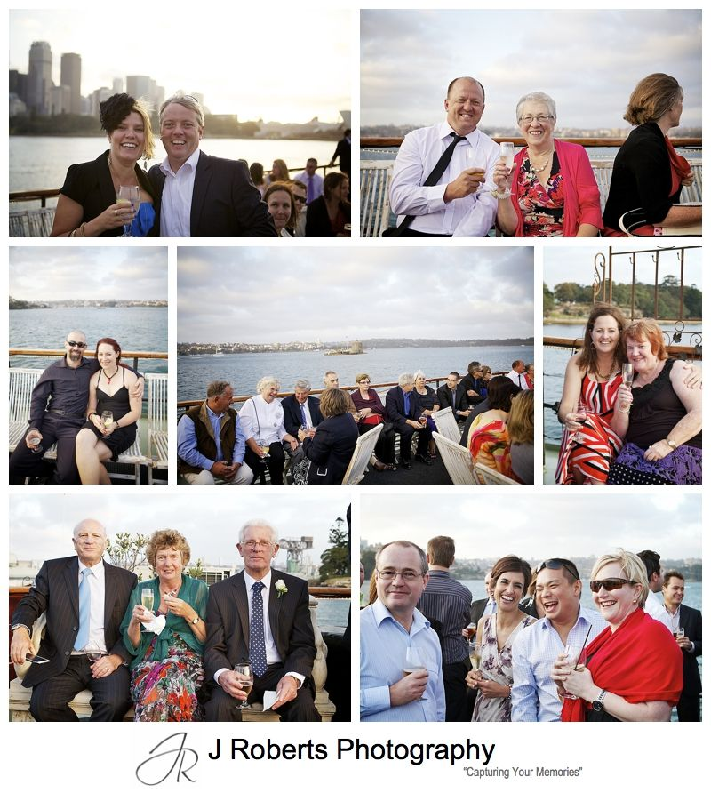 Guests having drinks at sunset on the top of Sydney Glass Island - sydney wedding photography