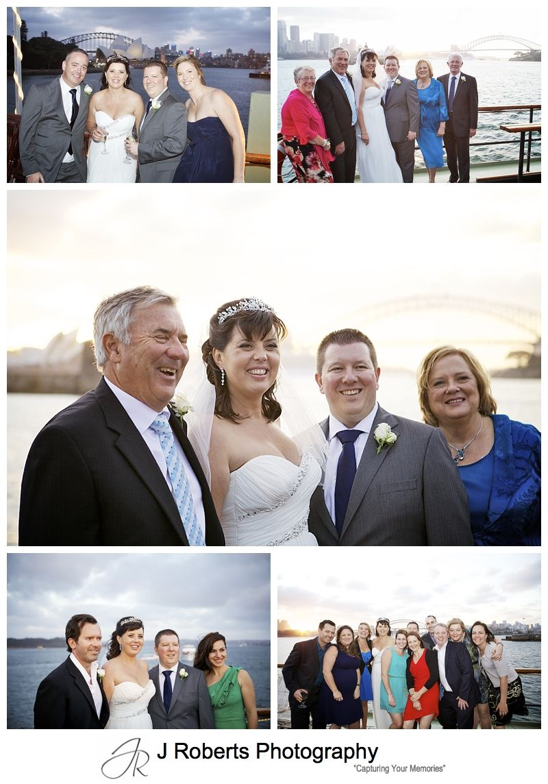 Group photographs at Sunset on Sydney harbour from Sydney Glass Island - sydney wedding photography