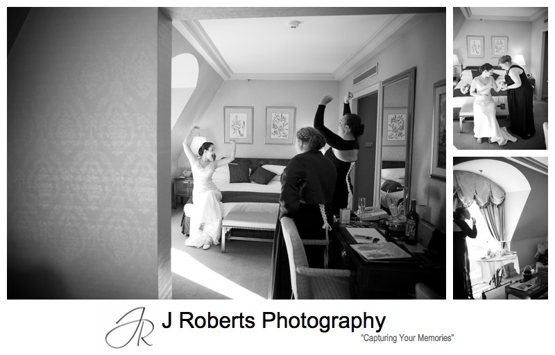 B&W portraits of brides preparation - sydney wedding photography