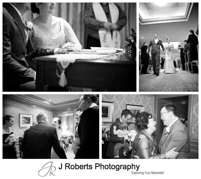 B&W photographs of wedding ceremony - sydney wedding photography