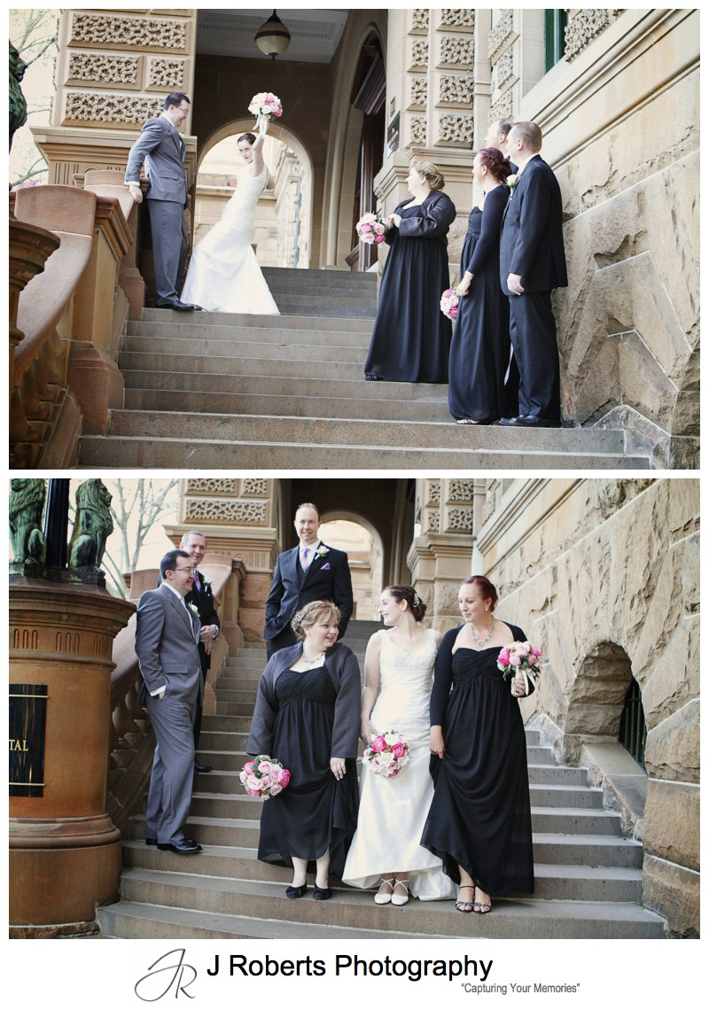 Bridal party on the steps of the InterContinental Hotel Sydney - sydney wedding photography