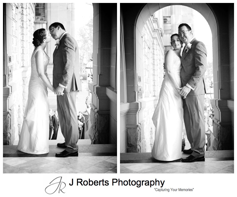 B&W portraits of bride and groom - sydney wedding photography