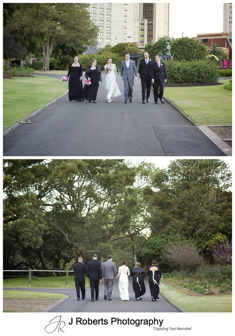 Bridal party walking in the Royal Botanic Gardens Sydney - Sydney wedding photography