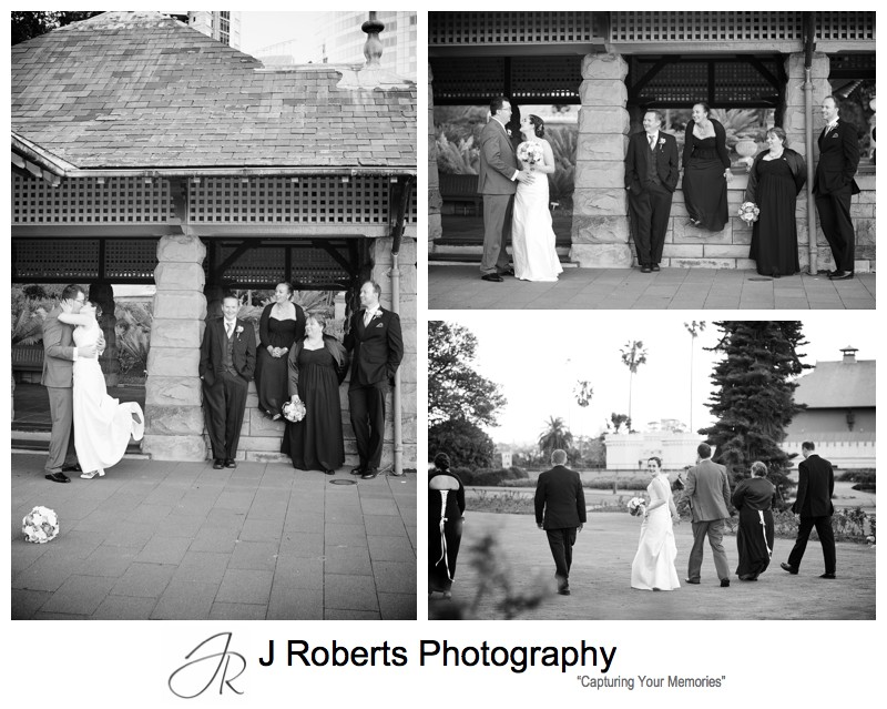 B&W photos of bridal party in the Royal Botanic Gardens Sydney - wedding photography sydney