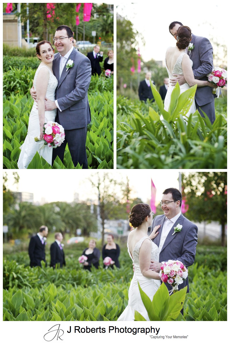 Bridal party in the tulips at Sydney's Royal Botanic Gardens - sydney wedding photography