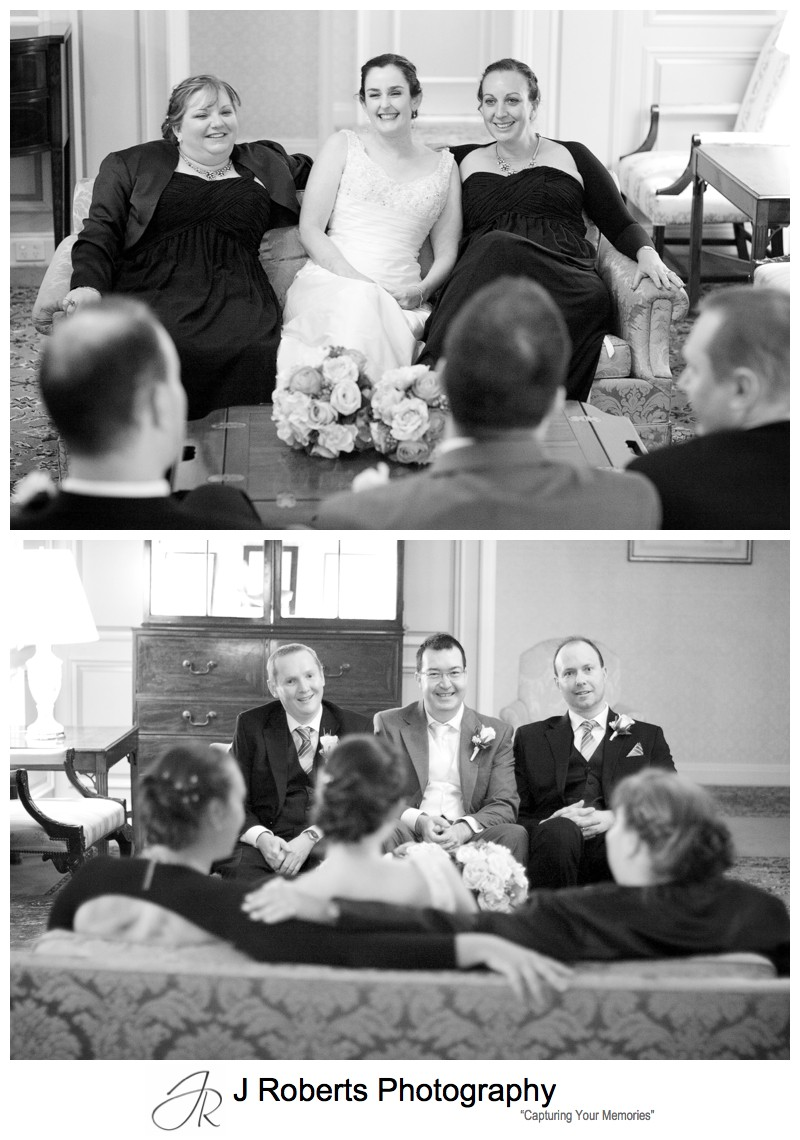 Bridal party relaxing on the couches in the Sir Stamford Circular Quay Sydney - wedding photography sydney
