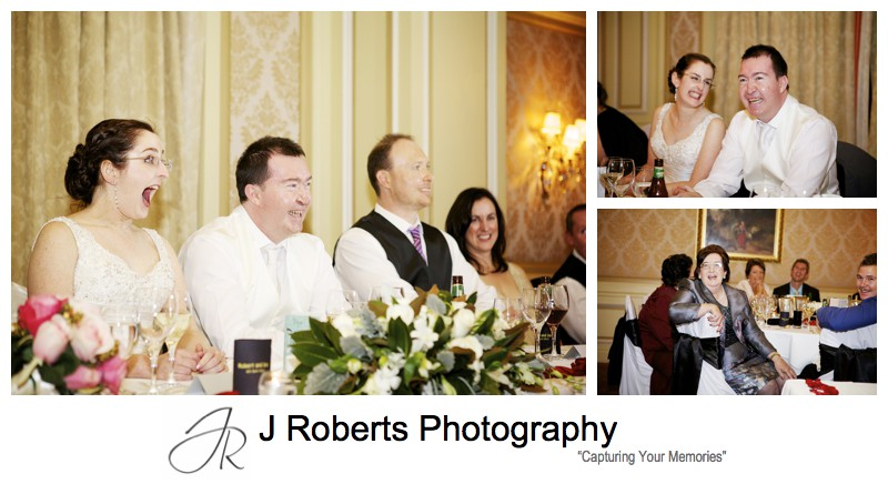 Laughing at wedding speeches - sydney wedding photography