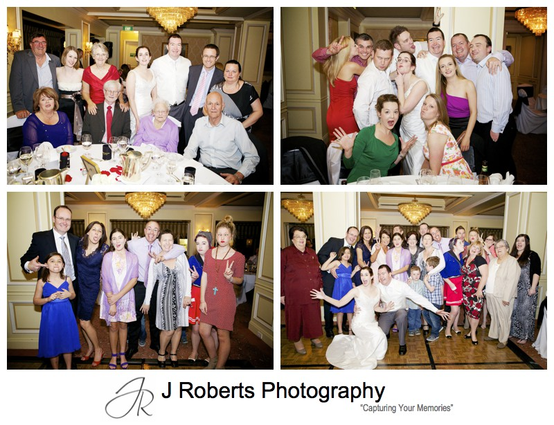 Crazy group photos during wedding reception - sydney wedding photography