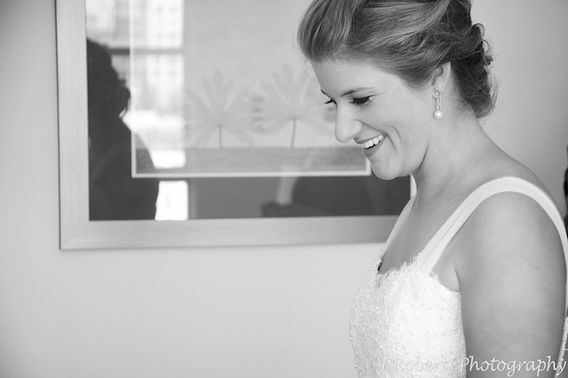 B&W of bride laughing - wedding photography sydney