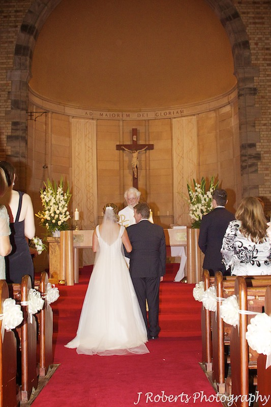 Bride at the end of the aisle with her father St Mary's NOrth Sydney - wedding photography sydney