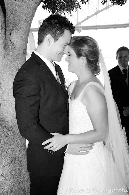 B&W of couple connecting foreheads - wedding photography sydney