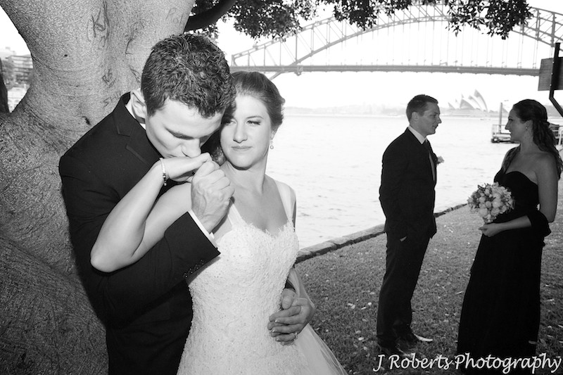 Groom kissing brides hand - wedding photography sydney