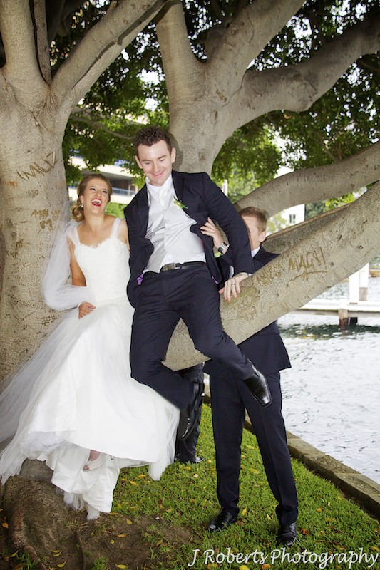 Groom trying to climb a tree and bride laughing - wedding photography sydney