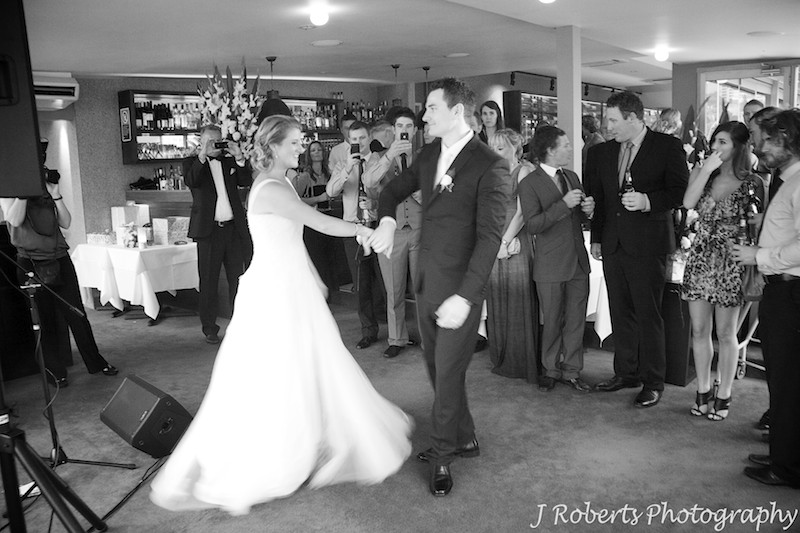 Bride and grooms first dance at Sails Lavender Bay = wedding photography sydney