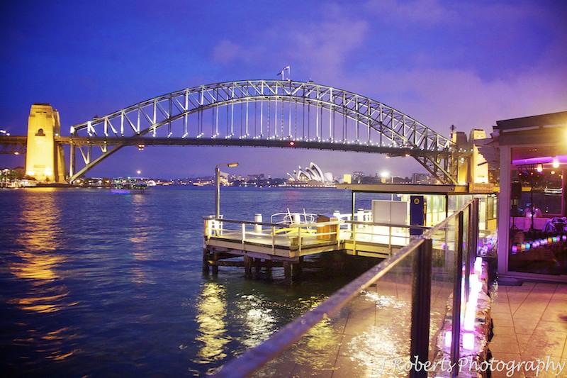 Night view of Sydney Harbour from Sails Lavender Bay - wedding photography sydney