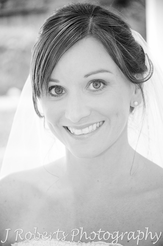 Bride in Black and white photo - Wedding Photography Sydney