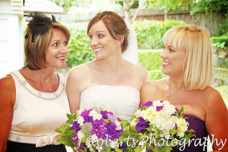 mum, bride and bridesmaid at home before the wedding ceremony - wedding photography sydney